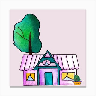 Purple Cute House Square Canvas Print