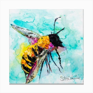 Blue And Yellow Watercolor Mindful Bee Square Canvas Print