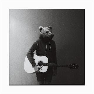 Animals in My Room (Bear) Canvas Print