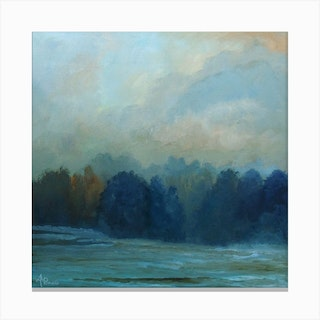Night Fading In The Woods Square Canvas Print