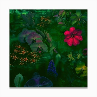 Gathering Of Flowers - Green Canvas Print