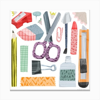 Stationary Lover Square Canvas Print