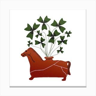 Fiesole Horse Vessel Square Canvas Print