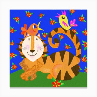 Tiger And Friends Square Canvas Print
