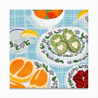 Fruity Brunch Square Canvas Print