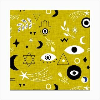 Cosmic Charm Dark Goldenrod Square Canvas Print