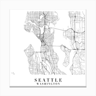 Seattle Washington Street Map Minimal Square Canvas Print