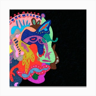 Side Face In The Mirror Square Canvas Print