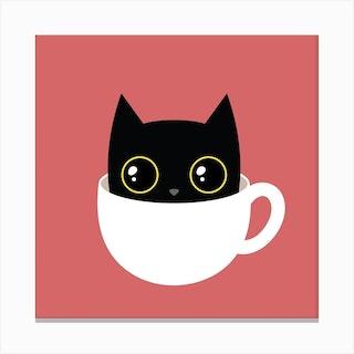 Coffee Cat Square Canvas Print
