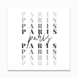 Paris Fade Font Canvas Print