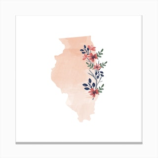 Illinois Watercolor Floral State Canvas Print