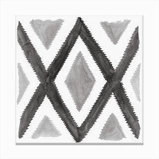 Del Rio Watercolor Print In Black And White Canvas Print