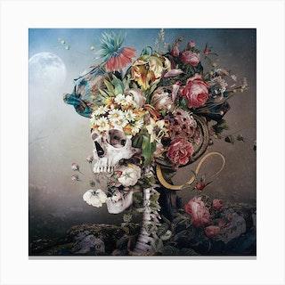 Flower Skull Square Canvas Print