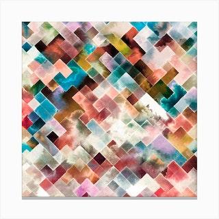 Moody Geometry Multi White Square Canvas Print