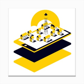 Digital Village Canvas Print