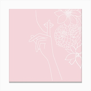 Pink Minimal Line Art Girl With Flowers Canvas Print