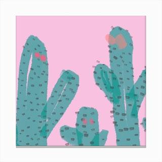 Pink Cactus Canvas Print