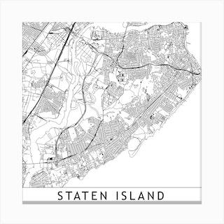 Staten Island White Map Square Canvas Print