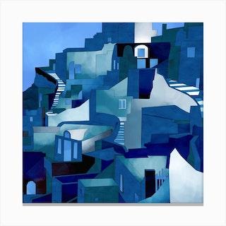 Santorini Blue Square Canvas Print