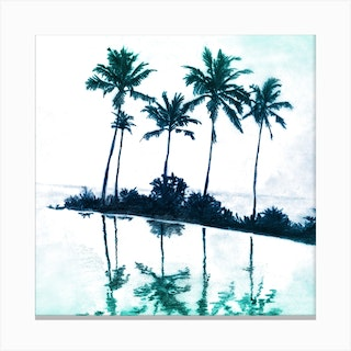 Palm Tree Reflections Teal Square Canvas Print