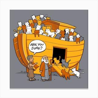Noahs Ark Cat Square Canvas Print