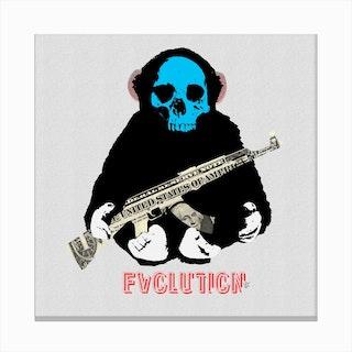 Evolution 2 · The Monkey Man and the Gun Canvas Print