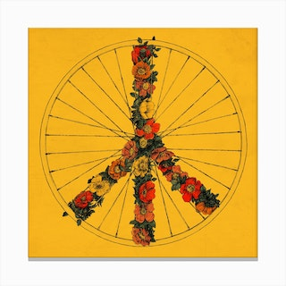 Peace and Bike In Colour Canvas Print