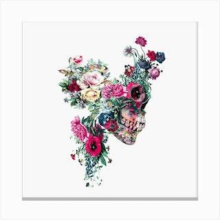 Floral Skull Square Canvas Print