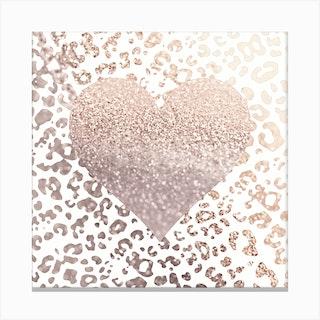 Pale Rose Leo Heart Canvas Print