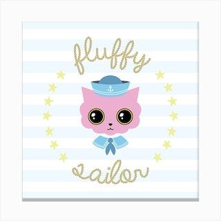 Fluffy Sailor Square Canvas Print