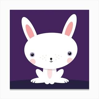 Nursery Kawaii Rabbit Square Canvas Print