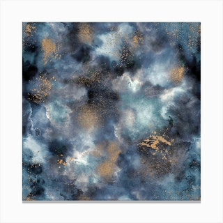 Smoky Marble Watercolor Dark Square Canvas Print