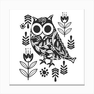 Night Owl Square Canvas Print