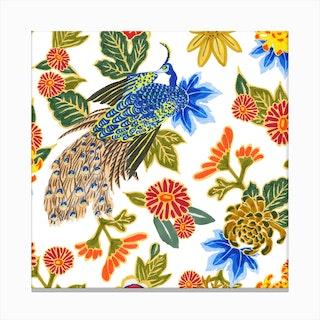 Peacocking In Multi Canvas Print