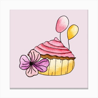 Pink Strawberry Cupcake Square Canvas Print