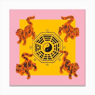 Bagua Tigers Pink Square Canvas Print