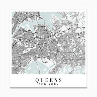 Queens New York Street Map Minimal Color Square Canvas Print