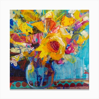 Contemporary Floral In Dreams Square Canvas Print