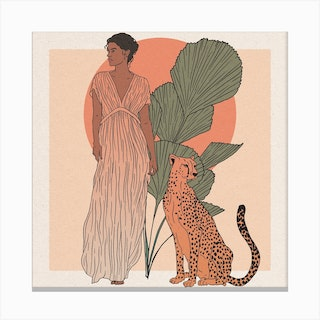 Woman And Leopard Canvas Print