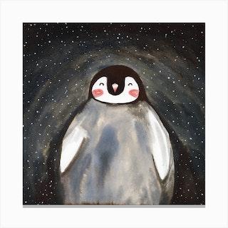 Happy Penguin Square Canvas Print