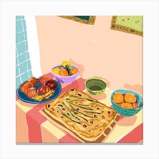 Foccacia Still Life Square Canvas Print