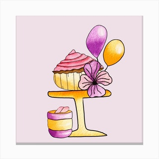 Gold And Purple Party Cupcakes Square Canvas Print