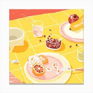 Grapefruit Still Life Square Canvas Print