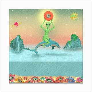 Alien Riding A Dolphin Square Canvas Print