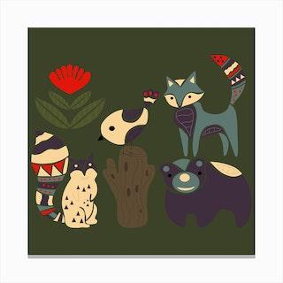 Folkie Forest Animals 1 Canvas Print