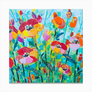 Colorful Poppies In Bloom With Butterflies Square Canvas Print