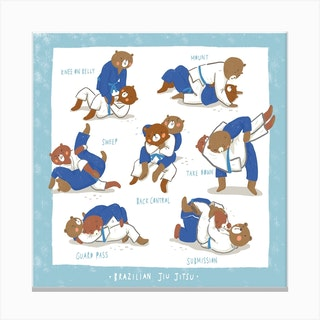 Jiu Jitsu Bears Square Canvas Print