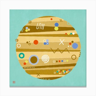 Jupiter On Vacation Meditative Mandala Canvas Print