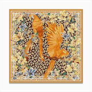 Parrots Leopard Pattern Square Canvas Print