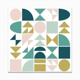 Geometry In Teal And Blush Square Canvas Print